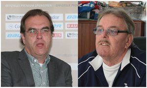 <p>Uwe Harnos (links) und Ernst Rupp<br/>Foto: Eishockey NEWS/Thorwartl<br/></p>