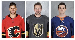 <p>Yasin Ehliz, Brooks Macek und Tom Kühnhackl (von links); Fotos: NHL Media</p><br/>