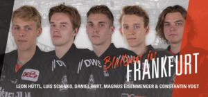 Leon Hüttl, Daniel Wirt, Luis Schinko, Magnus Eisenmenger und Constantin Vogt verlängern bei den Löwen Frankfurt